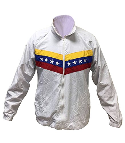 Venezuelan Jacket | Mens Track Top - Venezuela Flag Jacket - Great for Outdoor - Casual Jacket (White, Extra Large) (Country Track Soccer Jacket)