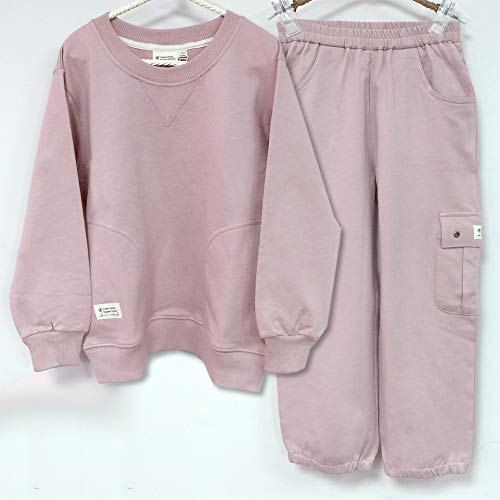 Organic Cotton Kids Long Sleeve and Pants Tracksuits Set (4-5Y(110)) Plum Red