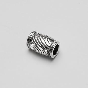 Metallperle Spacer Charms Tube Tonne geschnitzt Antiksilber Gro/ßloch 10046 16x11mm 3Stk.