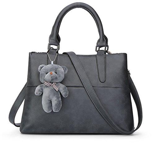 Qjfashion Women's Leather Handbag Tote Bag Street Casual Messenger Shoulder Bag (grey) Qjwaa0767