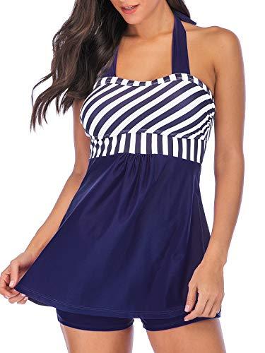 Yanekop Womens Two Piece Swimsuit Halter Tankini Plus Size Swimdress Striped with Shorts(Navy Blue,M)