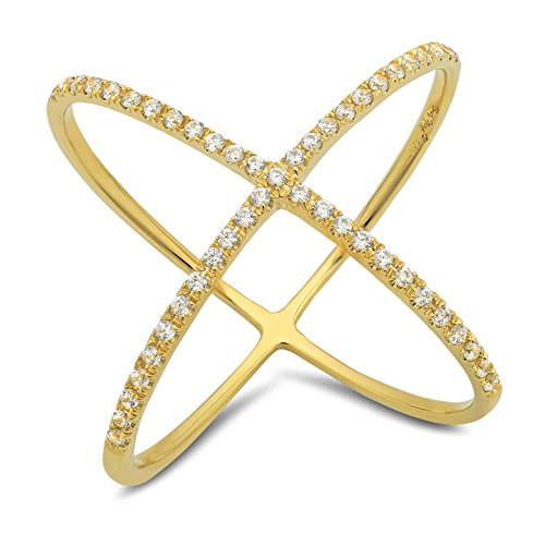 (Clara Pucci 0.58 CT Round Cut CZ Pave Engagement Contemporary Cross Design Ring Band 14k Yellow Gold, Size 6.5)