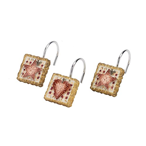 Avanti Hearts and Stars Shower Hooks, Multicolored