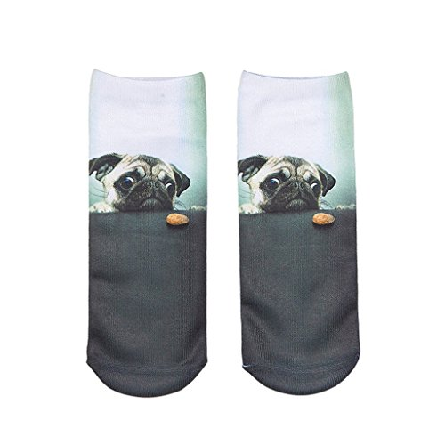 Hot Sale Female Harajuku Style 3D Pugs Short Sock Summer Ankle Socks