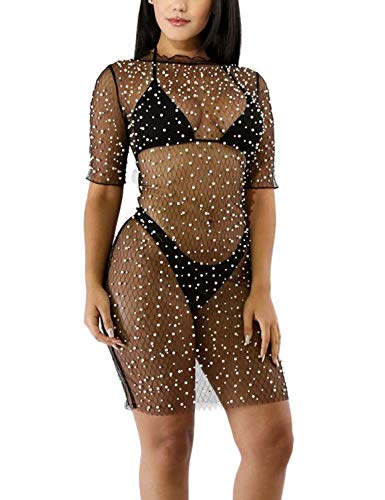 Vivilover Womens Sexy Sequins See Through Sheer Mesh Lingerie Mini Dress Clubwear (S, Black) ()