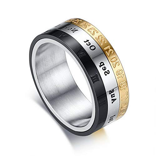Waldenn 8mm Roman Numerals Spinner Band Mens Stainless Steel Engagement Ring Size 7-12 | Model RNG - 27270 | 7