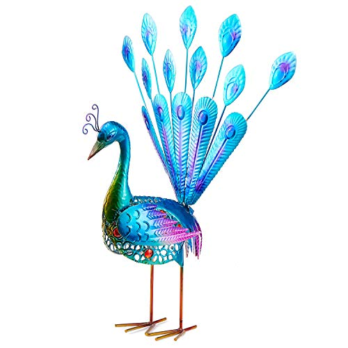 Peacock Garden Statues and Figurines, WOLUNWO Beautiful Garden Decorations Outdoor, Garden Statues Animals with Metal Feet Stakes 20 Inches, Indoor/Outdoor Sculpture for Patio, Yard or Lawn (Peacock Garden)