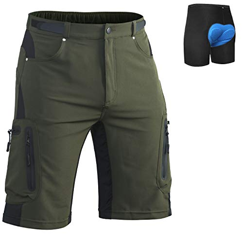 Ally Padded Mountain Bike Shorts, Water Repellent Mens Cycling MTB Shorts, 7 Pockets (Army Green-Padded, L(Waist:30.5