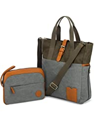 LAPTOP BAG for Women with Crossbody Strap and matching Small Purse - Large Canvas Tote Bag for Women - Work Bags for Women with Multiple Compartments - Perfect Travel Tote for Work or Daily Commute