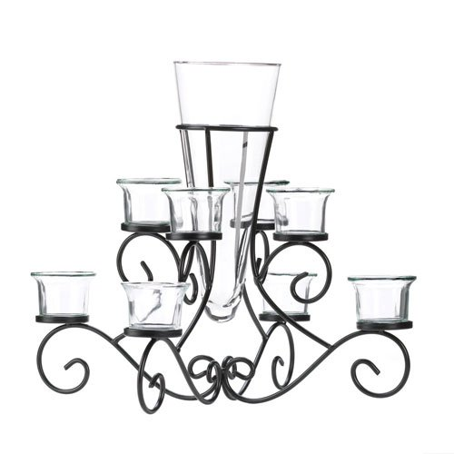 SCROLLWORK CANDLE STAND WITH VASE (Vase Scrollwork)
