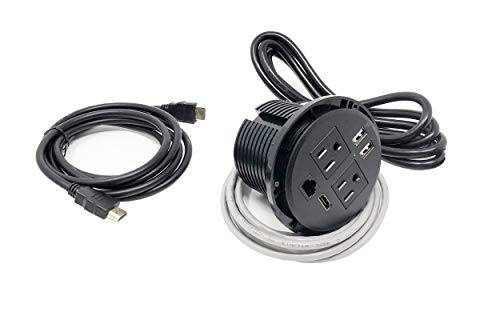 (UL Listed Power Plug in-Desk Power Center Table Top Grommet Furniture Power Data Hub-2 USB Port, 2 AC Power, 1 HDMI, 1 CAT6 Port Conference Table Connectivity Box (DC8689-Round-Black))
