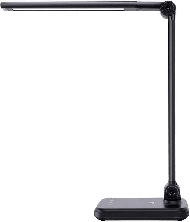 TaoTronics TT-DL047 LED Desk Wireless Charger, Dimmable Table Lamp, 5 Color Temperatures with 5 Brightness Levels, Touch Control, 1H Timer, Philips Enabled Licensing Program, Black