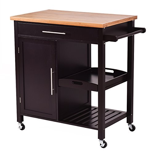 kitchen storage carts cabinets giantex rolling wood kitchen island trolley cart bamboo 6153