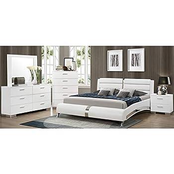 Amazon.com: J&M Furniture Palermo White Lacquer With Chrome ...