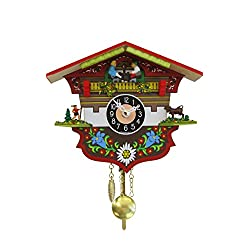 Alexander Taron 0143KQP Engstler Battery-Operated Clock - Mini Size with Music/Chimes - 5 H x 5.75 W x 2.5 D Brown