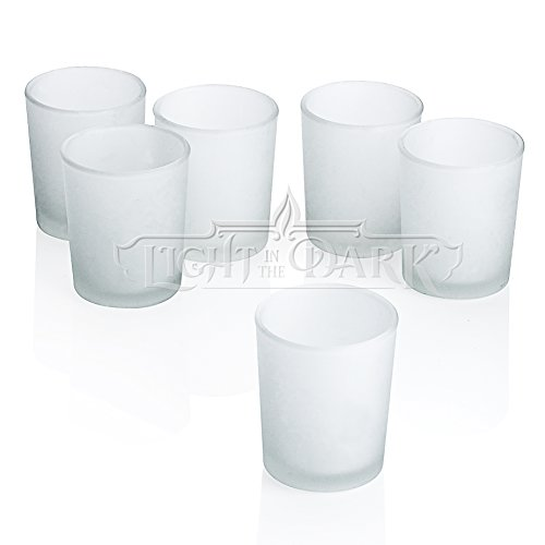 (Light In The Dark White Frosted Glass Candle Holders, Round)