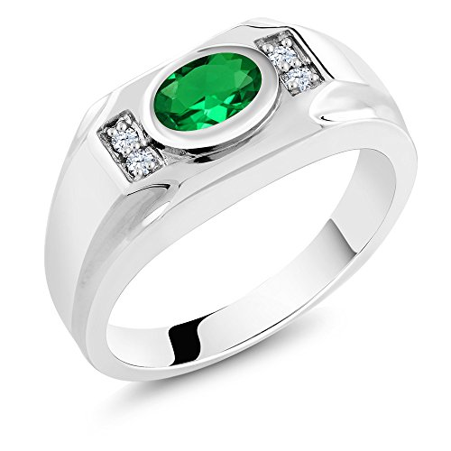 1.31 Ct Green Simulated Emerald White Created Sapphire 925 Sterling Silver Men's Ring by Gem Stone King