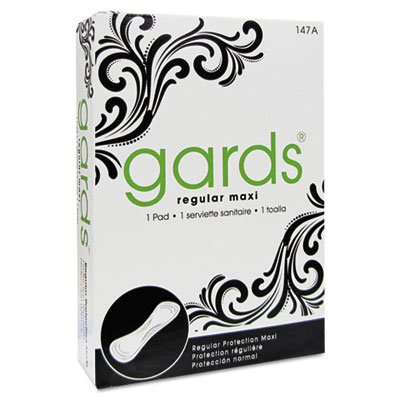 Gards Maxi Pads, #4, 250 Individually Boxed Napkins/Carton, Sold as 1 Carton