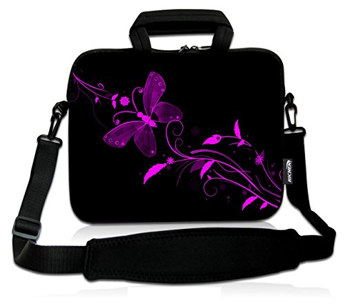 RICHEN 14 15 15.4 15.6 inch Laptop shoulder bag Messenger Bag Case Notebook Handle Sleeve Neoprene Soft Carring Tablet Travel Case with Accessories pocket (14-15.6 inch, Nice Butterfly)