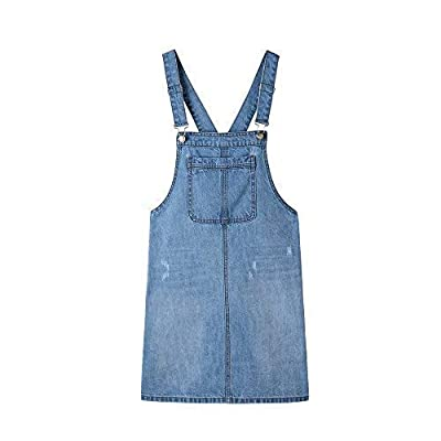 Duo Bao Yu Women's Denim Bib Overall Dress Casual Adjustable Strap A-line Jean Skirtall