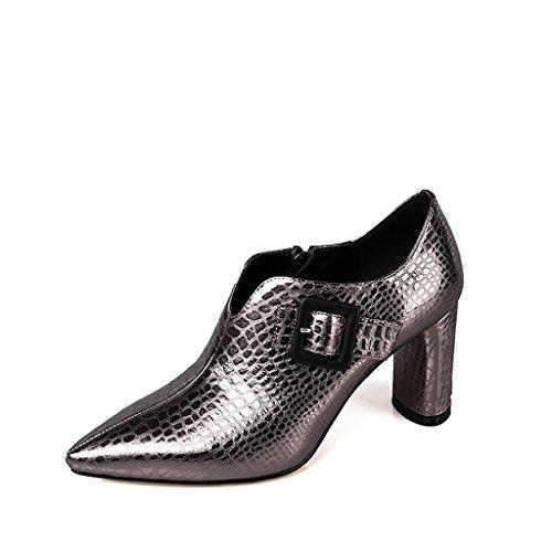 Femme Chaussures Sauvage Bouche Profonde Petites Épaisse Femmes Printemps en Hauts Cuir Chaussures Brown avec Femelle Simples des Talons YUBIN Nouvelle Pointu Jeunesse Chaussures TvUn7Ua