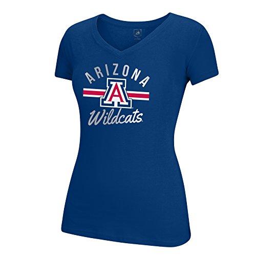 J America NCAA Arizona Wildcats Women's School Spirit Stripe Essential Tee, Navy, Medium