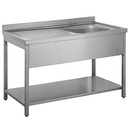 Custom Single Bowl Sink Unit with Drain & Back Splash and Under Shelf (Size : 1650x700x850 mm )