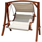 Charles Bentley 2-3 Seater Larch Wooden Garden Outdoor Swing Seat Hammock Cream Canopy 1.9M