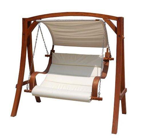 Schaukelbank für 2 bis 3 Personen - ideal für den Garten - Lärchenholz - Cremefarben - 1,9 m