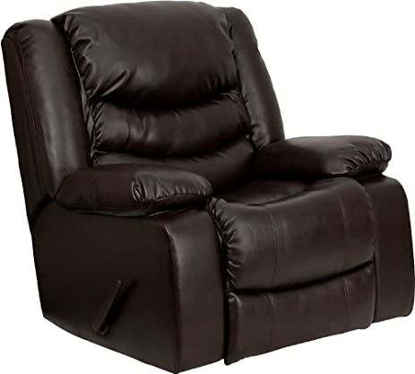 Flash Furniture Plush Brown Leather Lever Rocker Recliner with Padded Arms  sc 1 st  Amazon.com & Amazon.com: Flash Furniture Plush Brown Leather Lever Rocker ... islam-shia.org