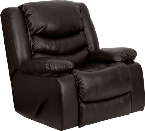 Flash Furniture Plush Brown Leather Lever Rocker Recliner with Padded Arms (Relax Lounger Costco)
