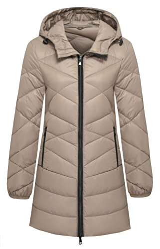 Wantdo Women's Hooded Packable Ultra Light Weight Down Jacket, Khaki, Medium