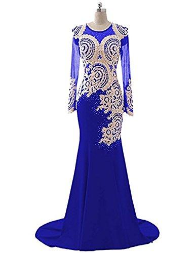 Abendkleid Spitze Applikationen Abendkleid King's Mieder nge Perlen Meerjungfrau Kleid Boden Langarm 1 Love L Strass nigsblau Frauen K Sheer CXXqHwv