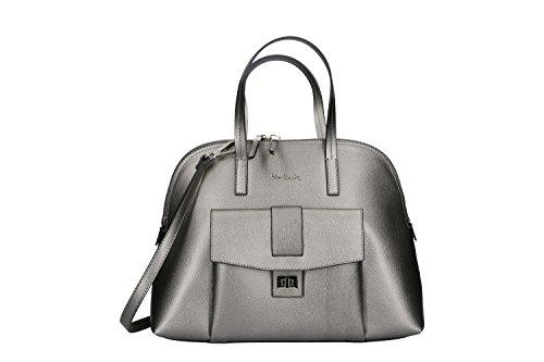 Bolsa mujer de mano bandolera PIERRE CARDIN gris cuero Made in Italy VN194