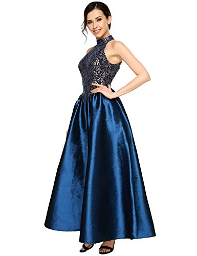 Blue Long Floral Halter Evening Dress 1 Formal Gown Lace ANGVNS Women's Party Prom Ball 7wg1qW0E