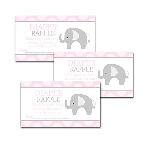 Gifts and Prizes Pink Elephant Diaper Raffle and Bring a Book Cards for Girl Baby Shower 25//25 Bundle Bring a Pack of Diapers to Win Favors