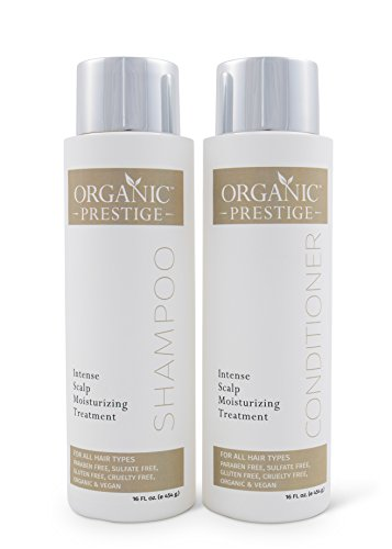 Luxury Shampoo and Conditioner SET (16 oz) - Natural, Organic Dandruff, Moisturizing, Volume, Psoriasis, Hair Loss, Detangler, Split Ends, Itchy Scalp, Sulfate Free, Paraben Free by Organic Prestige