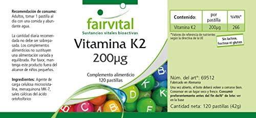 Vitamina K2 mk7 200mcg - VEGANO - Dosis elevada - 120 Comprimidos ...