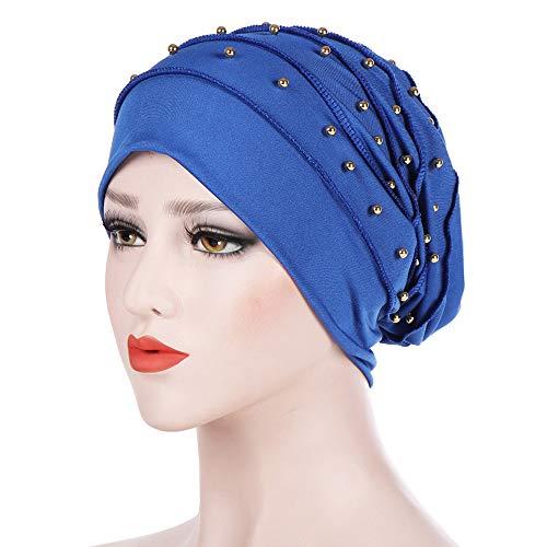Hot Sale!Dressin_Hat Women Bowknot Muslim Ruffle Chemo Hat Beanie Beading Turban Head Wrap Cap -