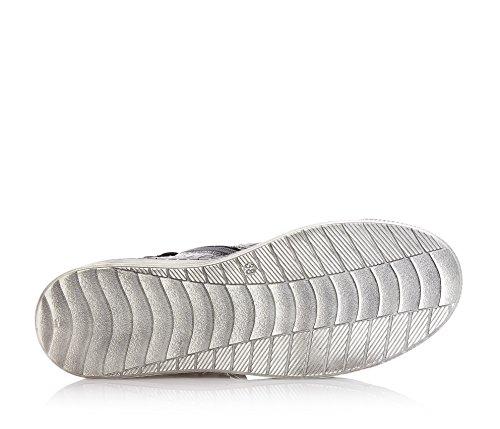 LIU JO - Sneaker à lacets argentée, en cuir avec fermeture éclair latérale, logo sur la languette et appliqué avec lettres en plastique, fille, filles, femme, femmes