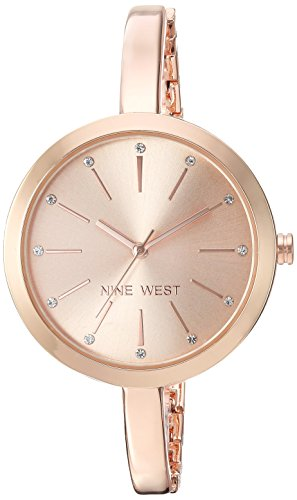 Watch Gold Links Color Crystal (Nine West Women's Quartz Metal and Alloy Dress Watch, Color:Rose Gold-Toned)