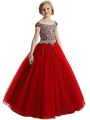 Girls Princess Tulle Beaded Straps Ball Gowns Flower Girl Pageant Dresses 16 US Picture red