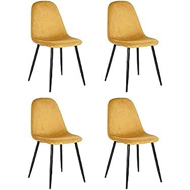 Muele-Cosy--Juego-de-4-sillas-de-Comedor-escandinavas-con-Asiento-y-Respaldo-recubiertas-de-Terciopelo-Amarillo-Silla-de-Oficina-con-Patas-de-Metal-Color-Amarillo-44-x-53-x-86-cm