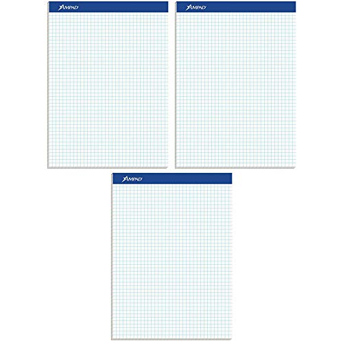 Ampad Evidence Quad Dual-Pad, Quadrille Rule, Letter Size (8.5 x 11.75), White, 100 Sheets per Pad (20-210) (Pack of 3)