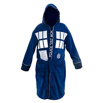 Doctor Who Tardis Hooded Medium Blue Bathrobe
