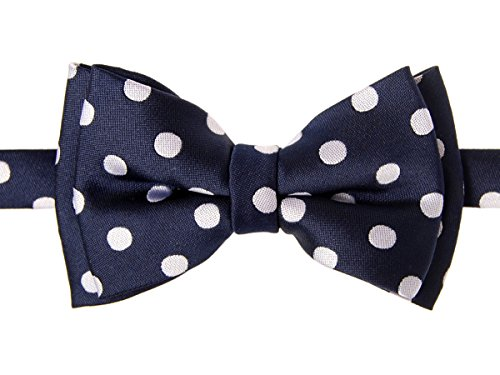Retreez Classic Polka Dots Woven Microfiber Pre-tied Boy's Bow Tie - Navy Blue with White Dots - 8-10 ()