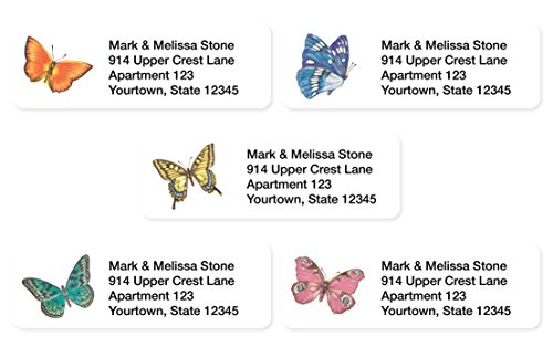 Free Address Label Printing (Bright Butterflies Assorted Set of 215 Sheeted Address Labels)