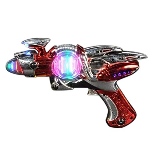 Kidsco Light- Up Toy Gun - Red Laser Space Gun Blaster Toy -Noise Making -Super Spinning -11 1/2 Inch- for Children, Play Time, Pretend, Parties