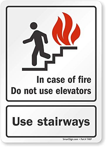 """""""In Case Of Fire Do Not Use Elevators, Use Stairways"""" Label By SmartSign 