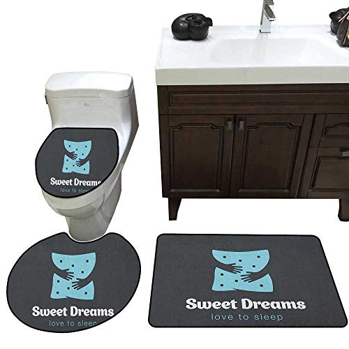 (Sweet Dreams Bathroom 3-Piece Mat Sets Love to Sleep Hugging Arms Minimalist Simplistic Illustration Contour Mat Lid Cover Non-Slip with Rubber Backing Charcoal Grey Pale Blue)